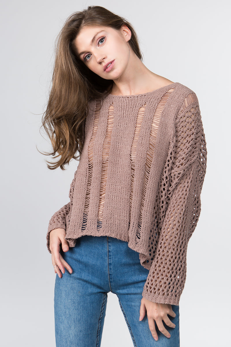 Oversized Plush Knit Sweater in Taupe