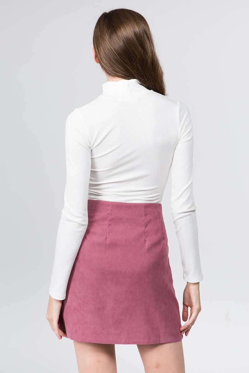 Corduroy A-line Skirt in Pink