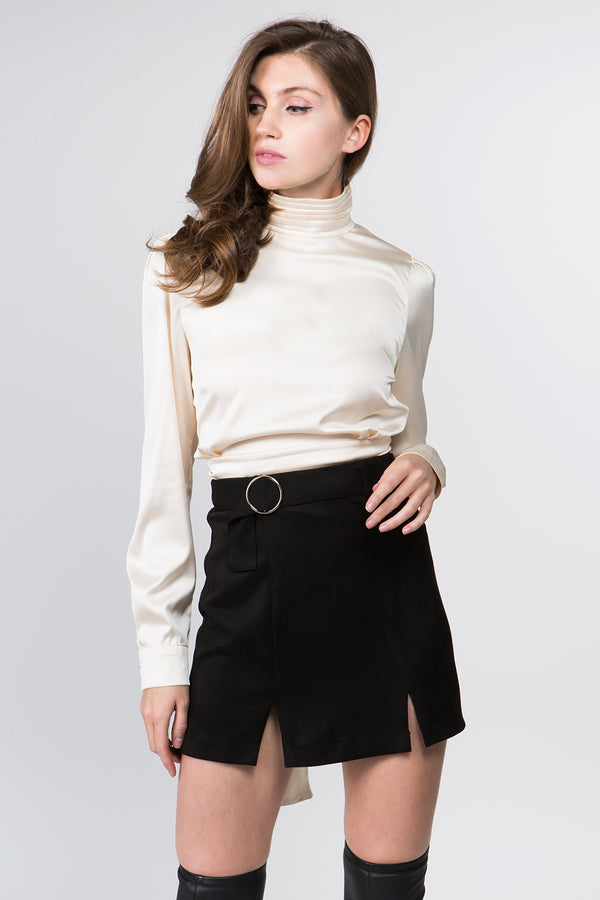 The Janine Satin Blouse in Ivory