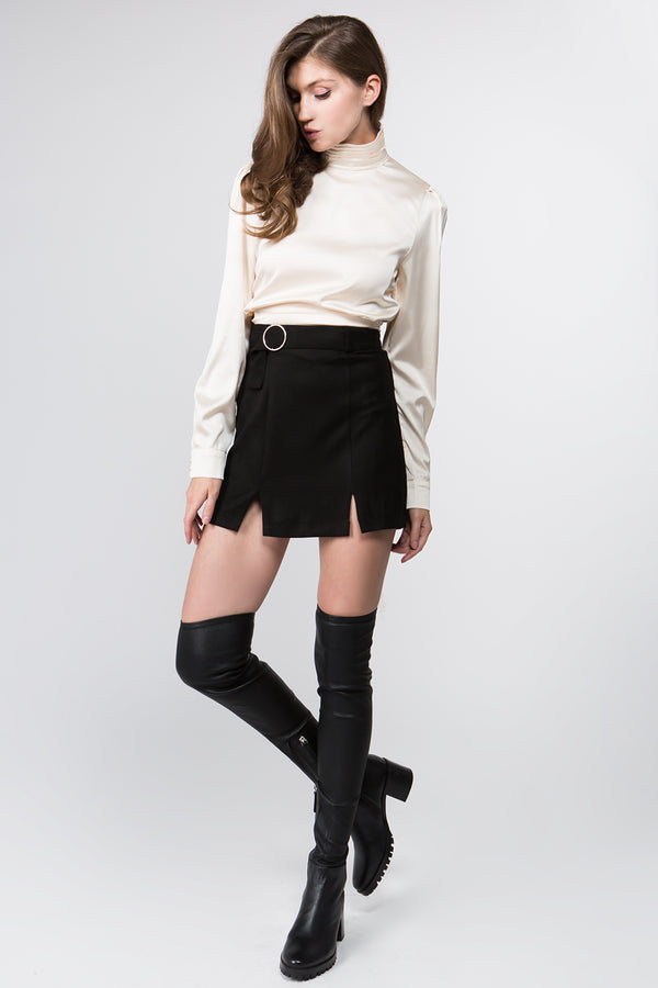 Skirt - Belted Faux Suede Skirt