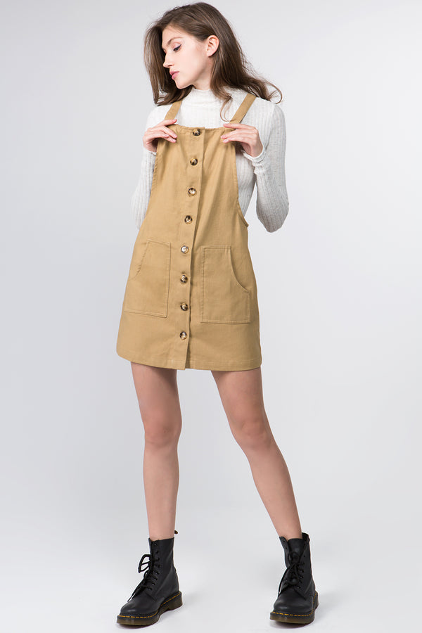 Button Down Denim Skirtall in Sand