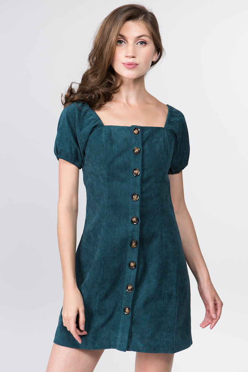 Cord Mini Dress in Forest