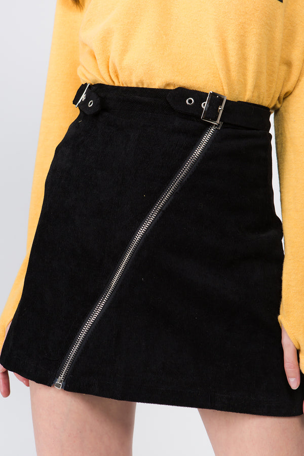 Front Zipper Mini Skirt