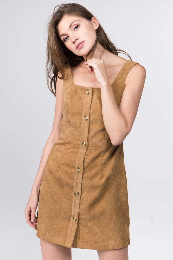 Dress - A-Line Corduroy Button Front Dress