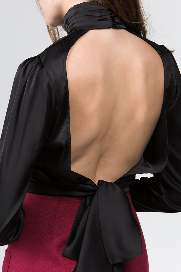 The Janine Satin Blouse in Black