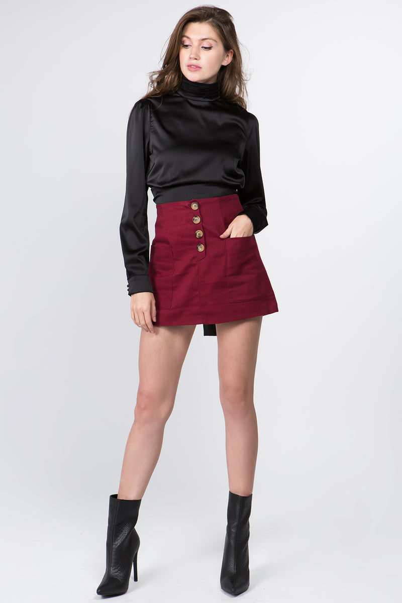 Burgundy Button-Up Skirt