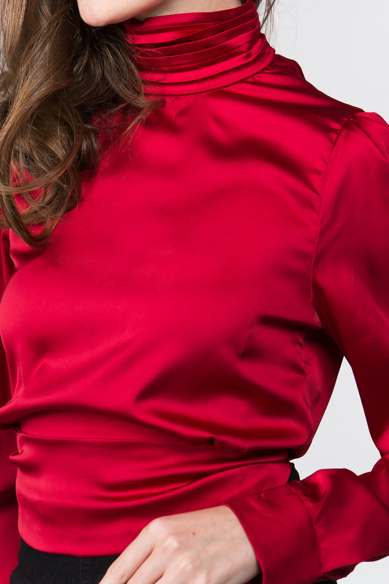 The Janine Satin Blouse in Red