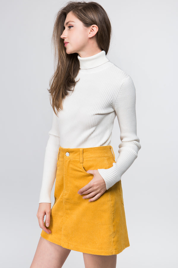 Cord Mini Skirt in Mustard