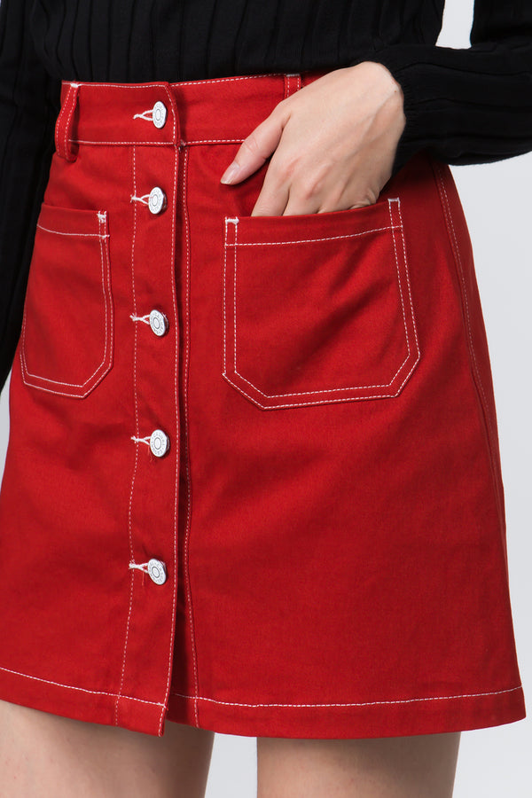 Contrast Stitches Mini Skirt in Red