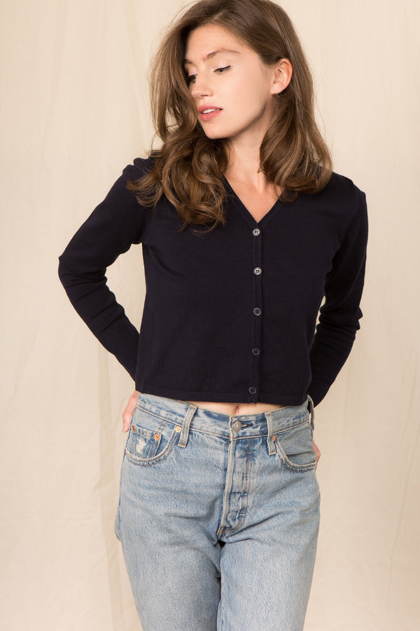 Crop Girlfriend Cardigan in Navy