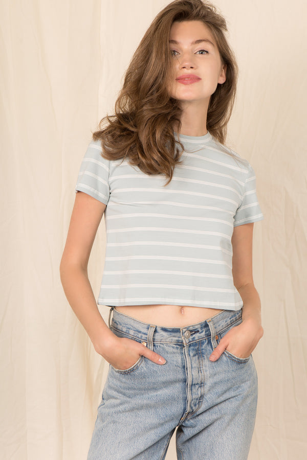 The Cathy Tee in Dusty Blue