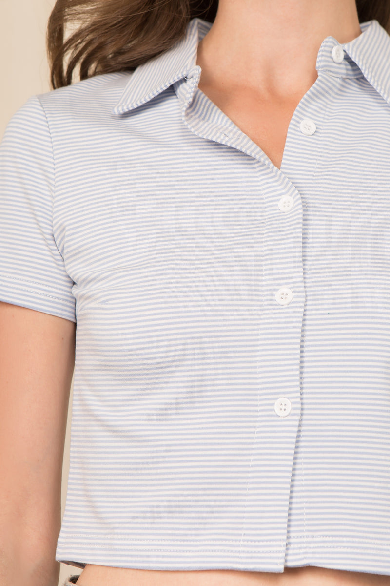 Button Front Polo Top in Blue