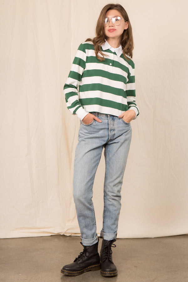 Collar Stripe Tee in Green