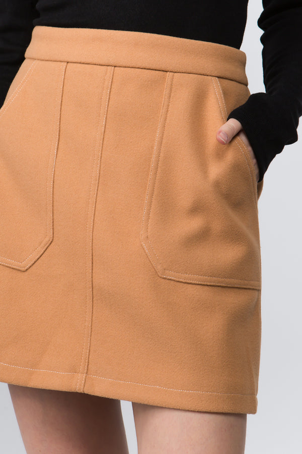 Kentra Mini Skirt in Caramel