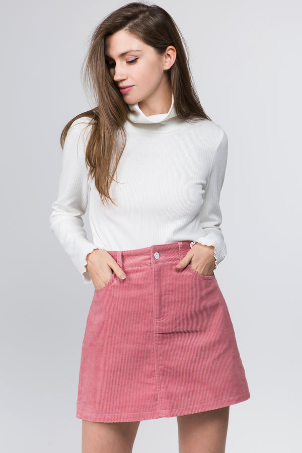 Cord Mini Skirt in Pink