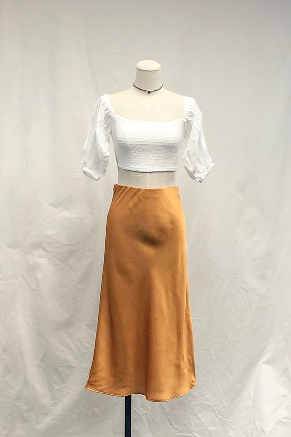 Marigold Satin Midi Skirt