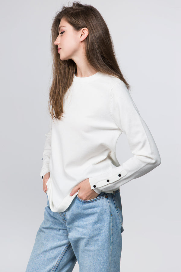 Round Neck Sweater in White