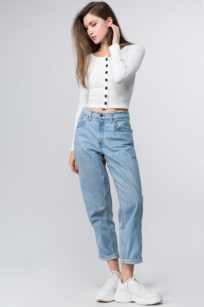 Button Front Cropped Sweater