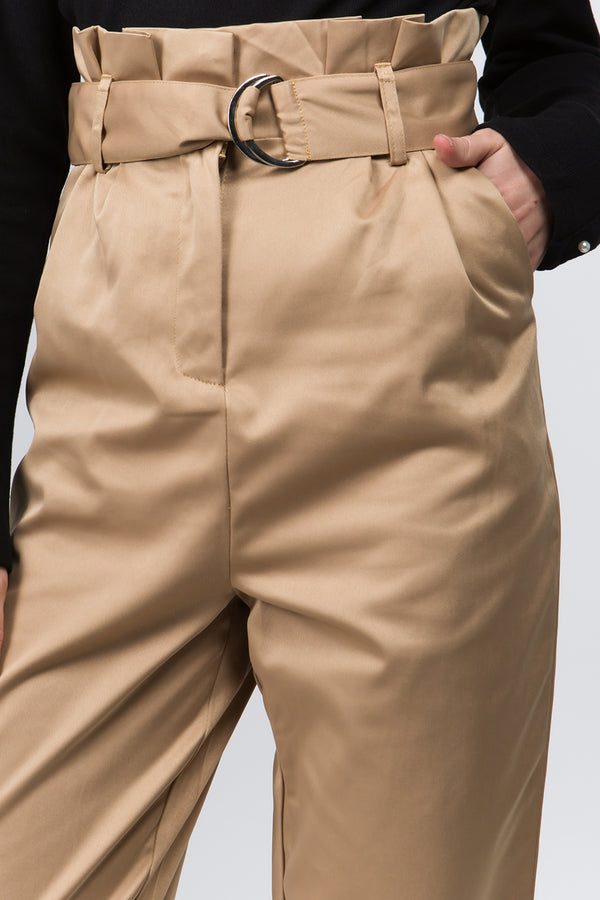 Paperbag Pants in Beige