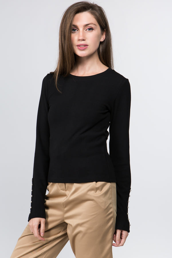 Pearl Sleeve Sweater in Black