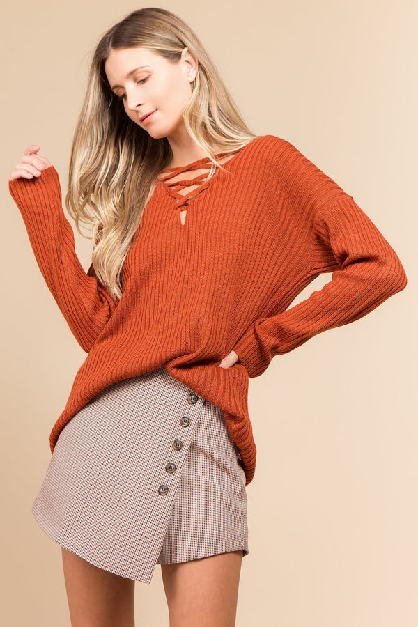 Sweater - Lace-up Oversized Sweater-PUMPKIN