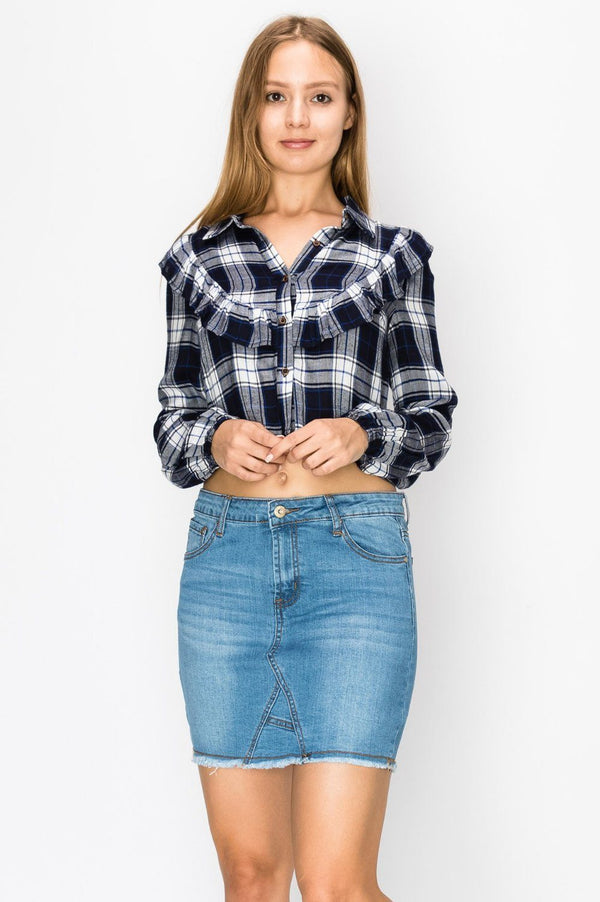 Tops - Checkered Frill Crop Shirt