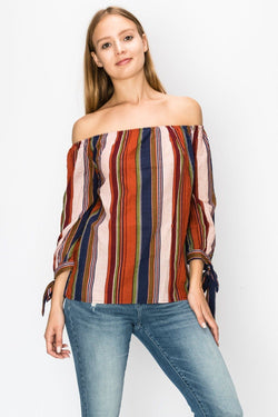 Tops - Cuff Sleeve Striped Blouse