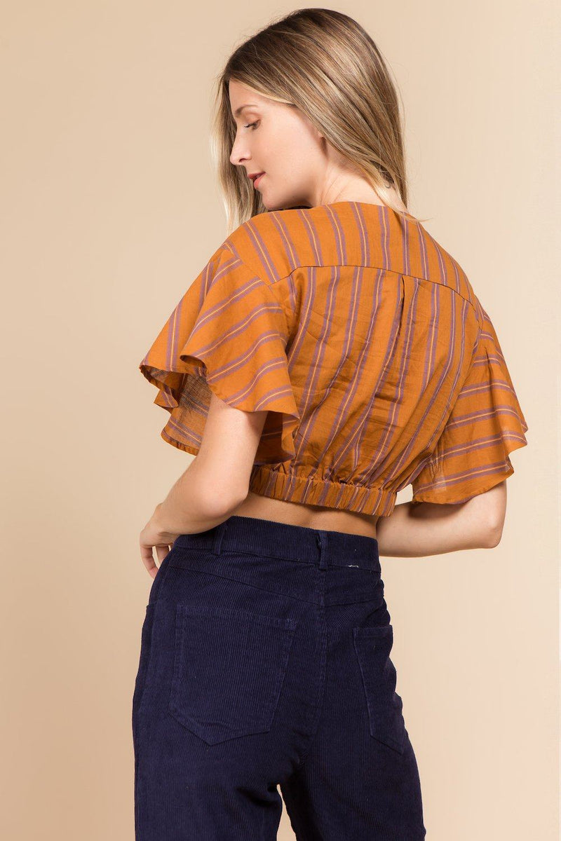 Tops - Front Twist Striped Crop Top