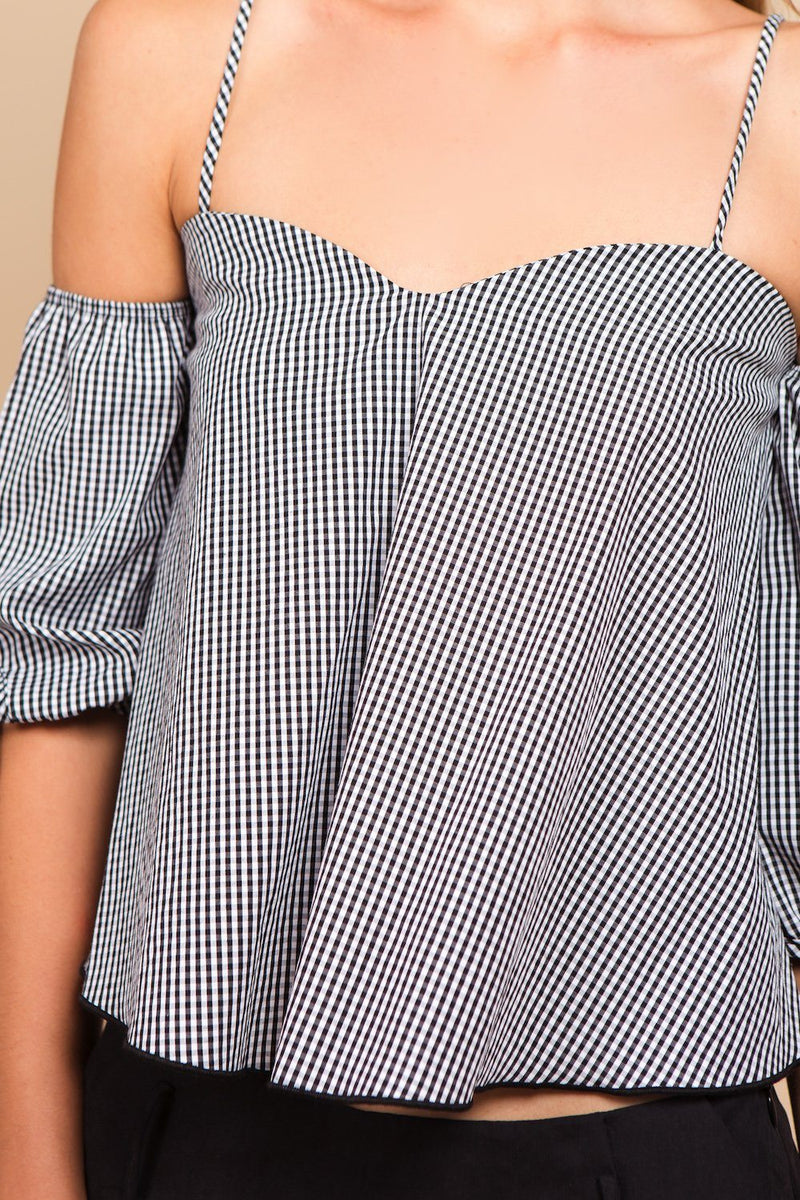 Tops - Gingham Shoulder Tie Top