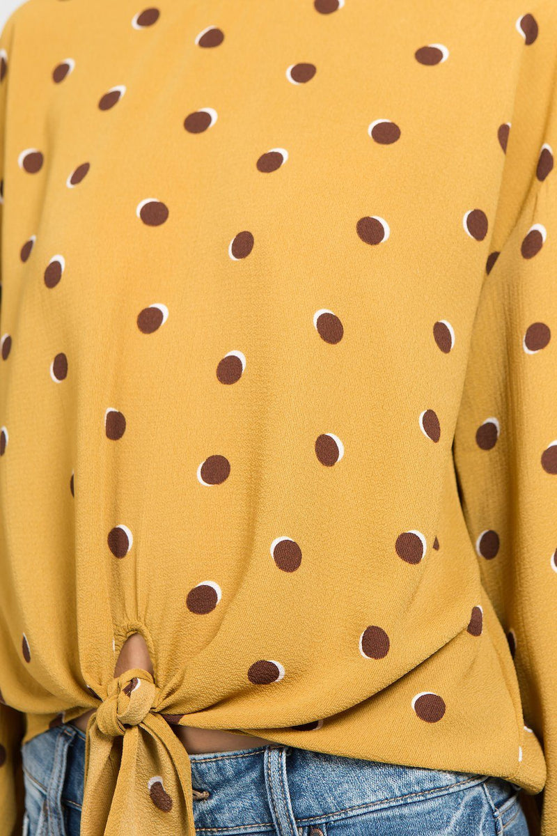 Tops - Mustard Polka Dot Shirt