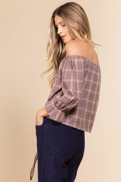 Tops - Off-the-Shoulder Plaid Shirt