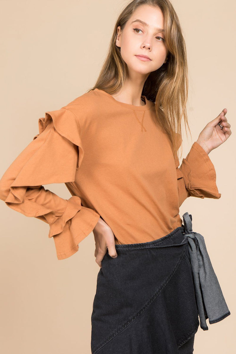 Tops - Puff Sleeves Round Neck Sweatshirt