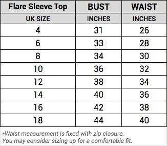 flare sleeve top size guide