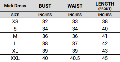 midi dress size guide