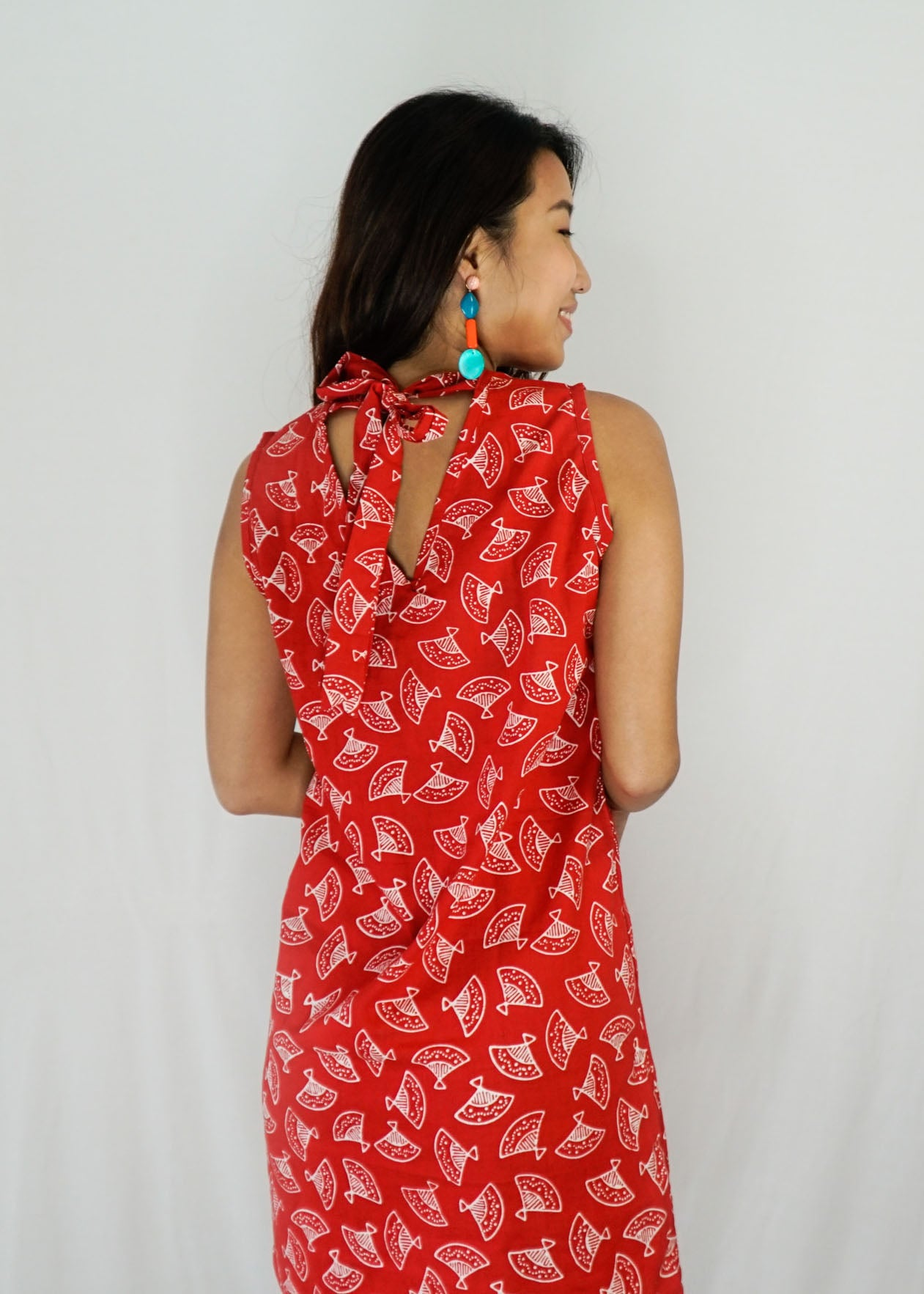 Joli Ribbon Tie-Back Dress in Fanny Red