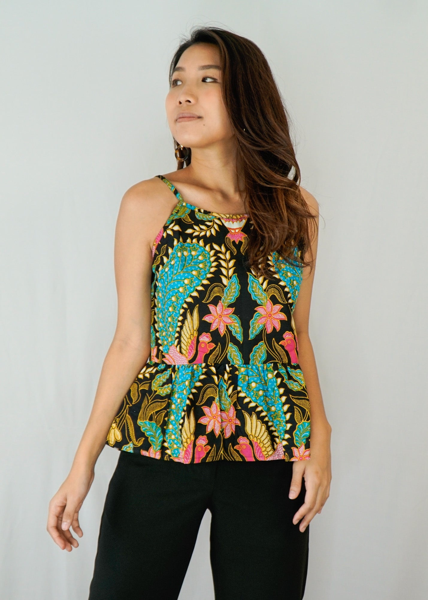 Anika Ruffle Spaghetti Top in Jungle Jubilation