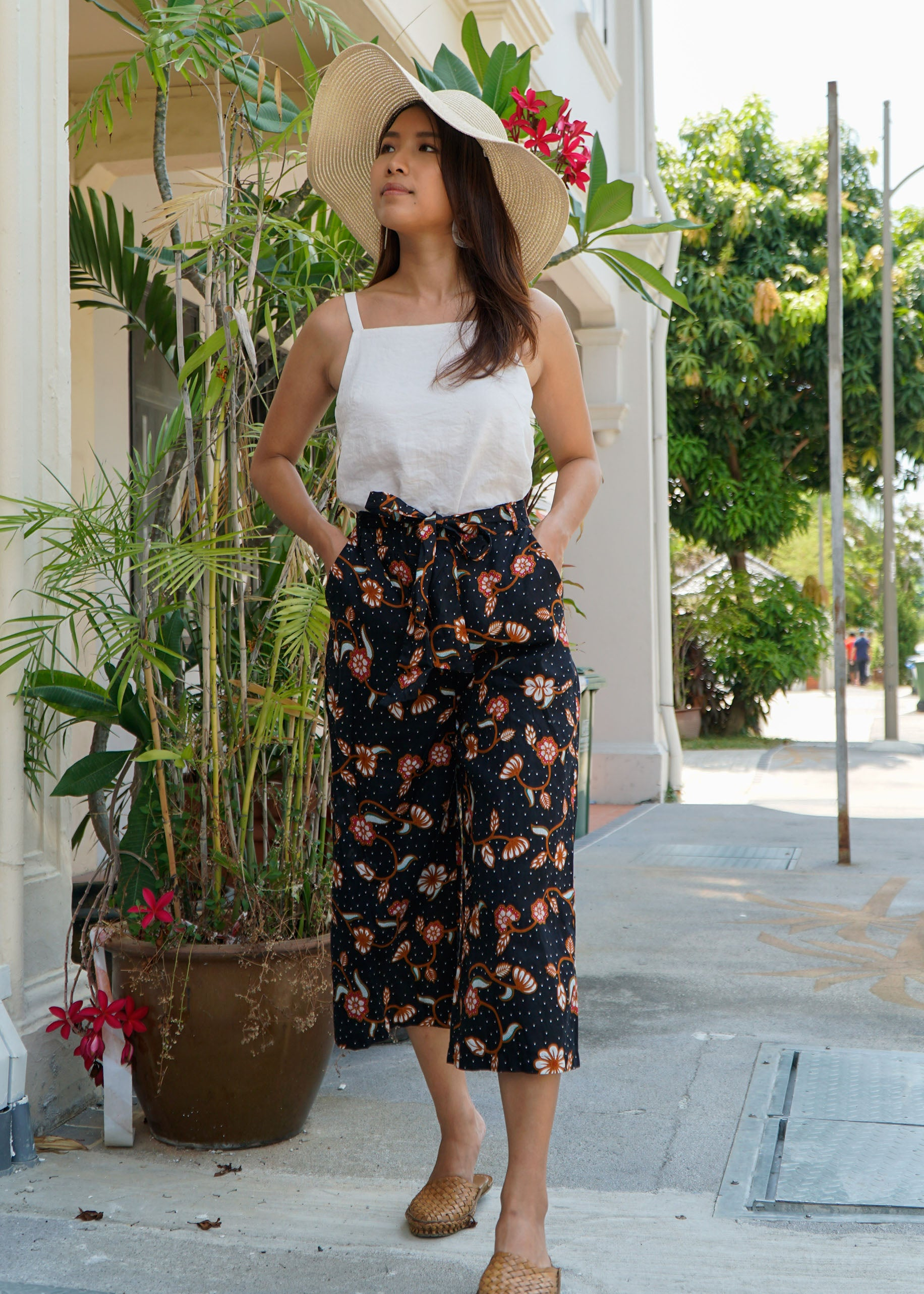 Imara Flare Pants in Black Floral