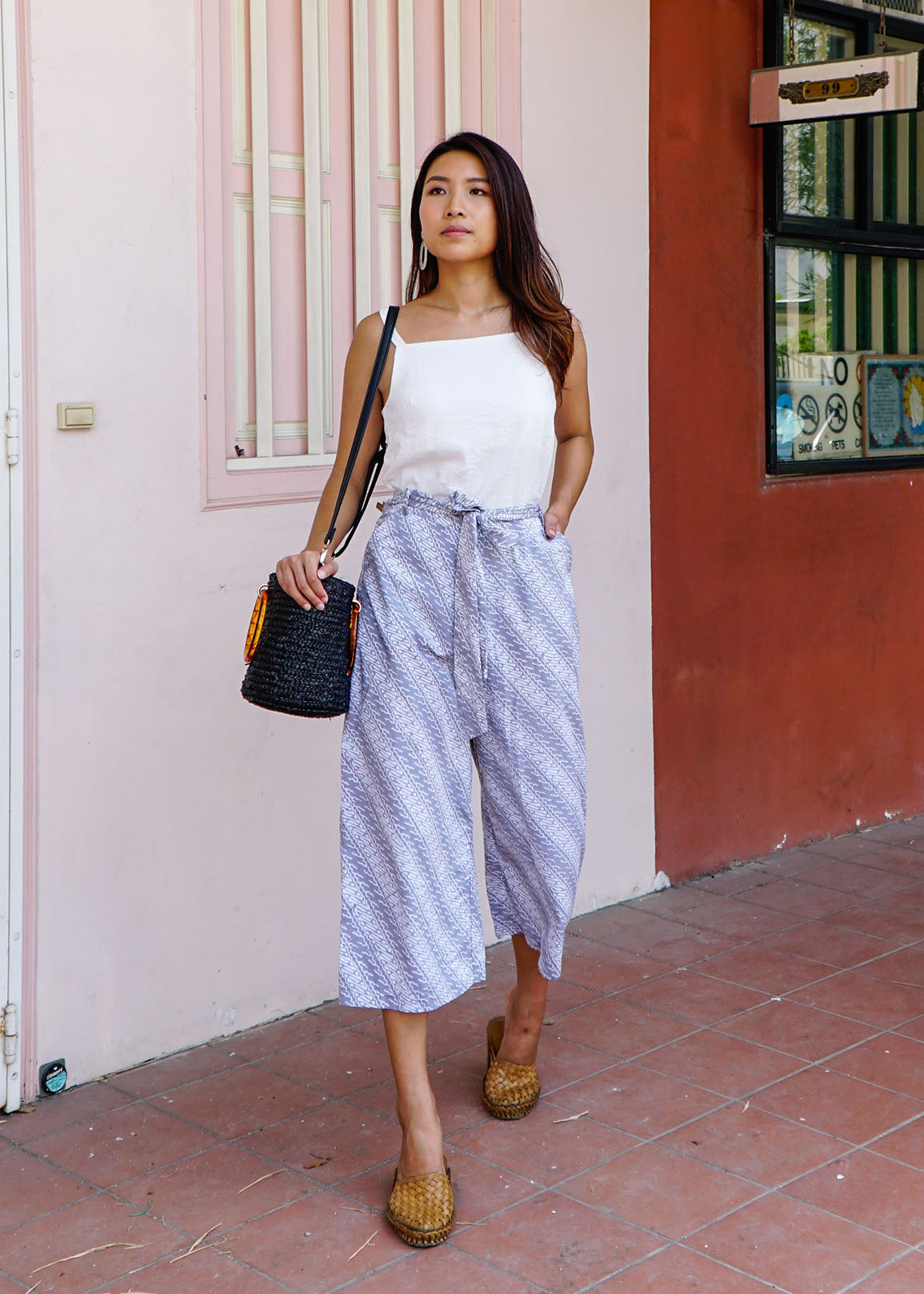 Imara Flare Pants in Grey Parang