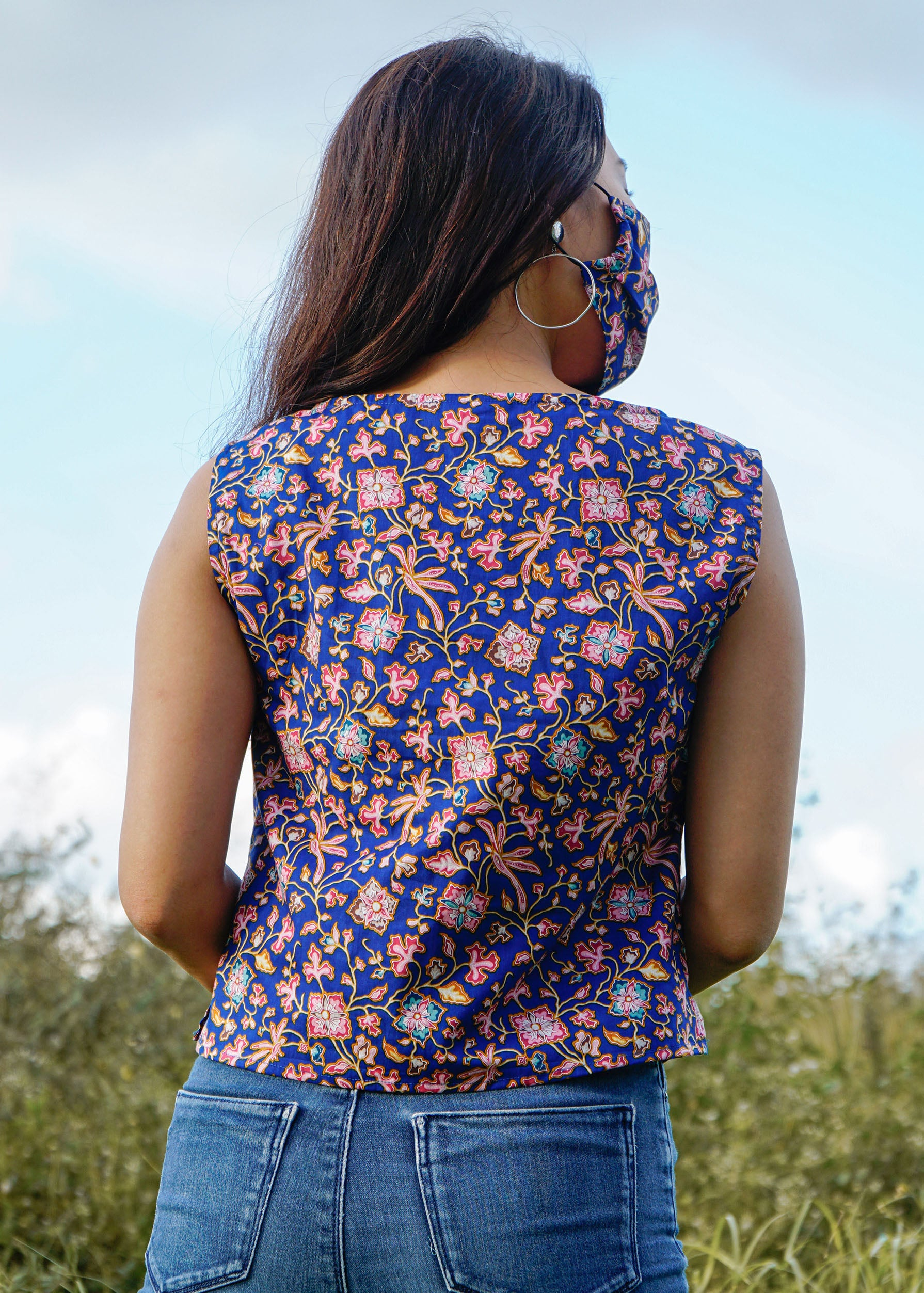 Easy Breezy Tank Top in Blue Vines (Ready-made)