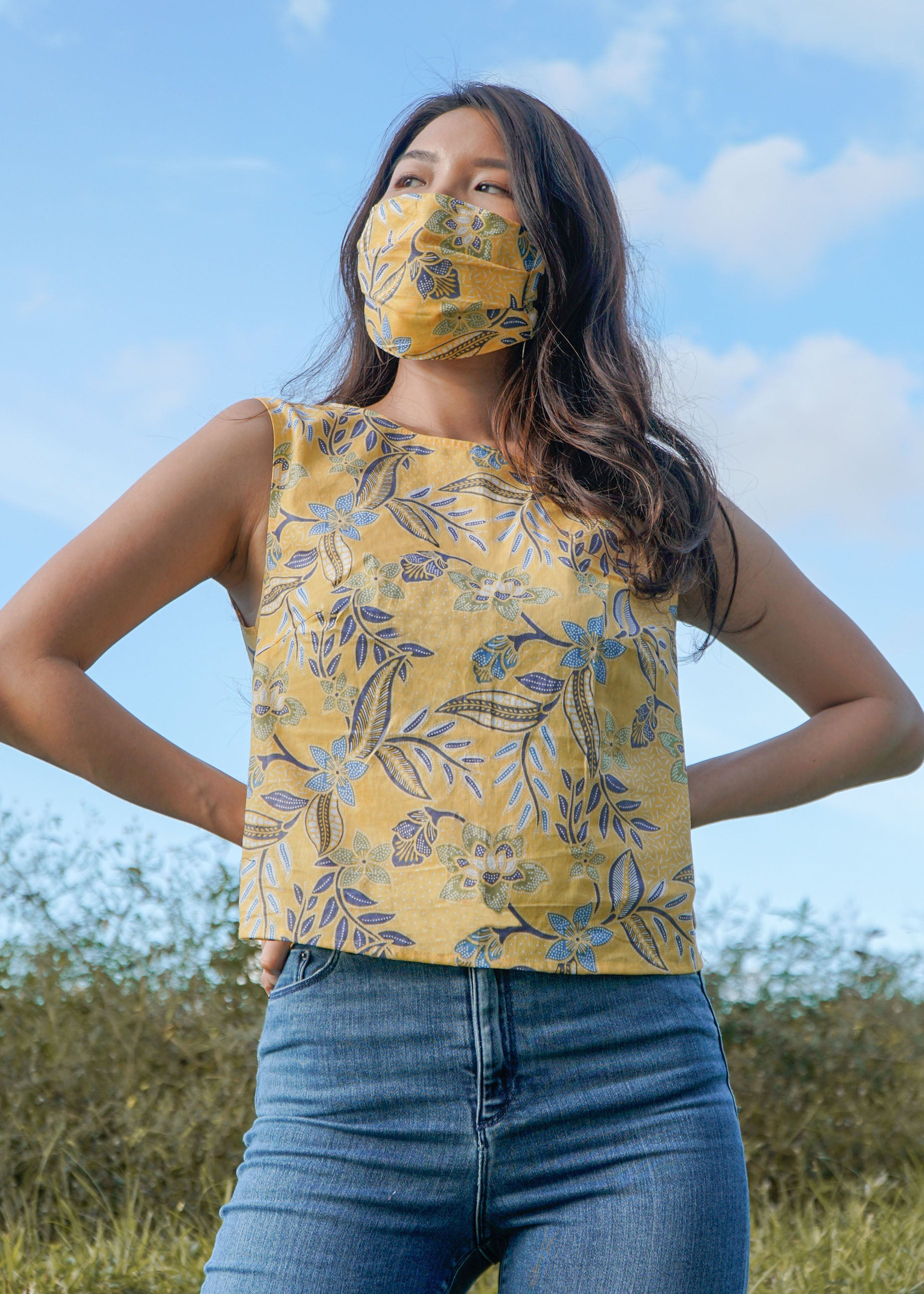 Easy Breezy Tank Top in Yellow Floral (Custom Order)