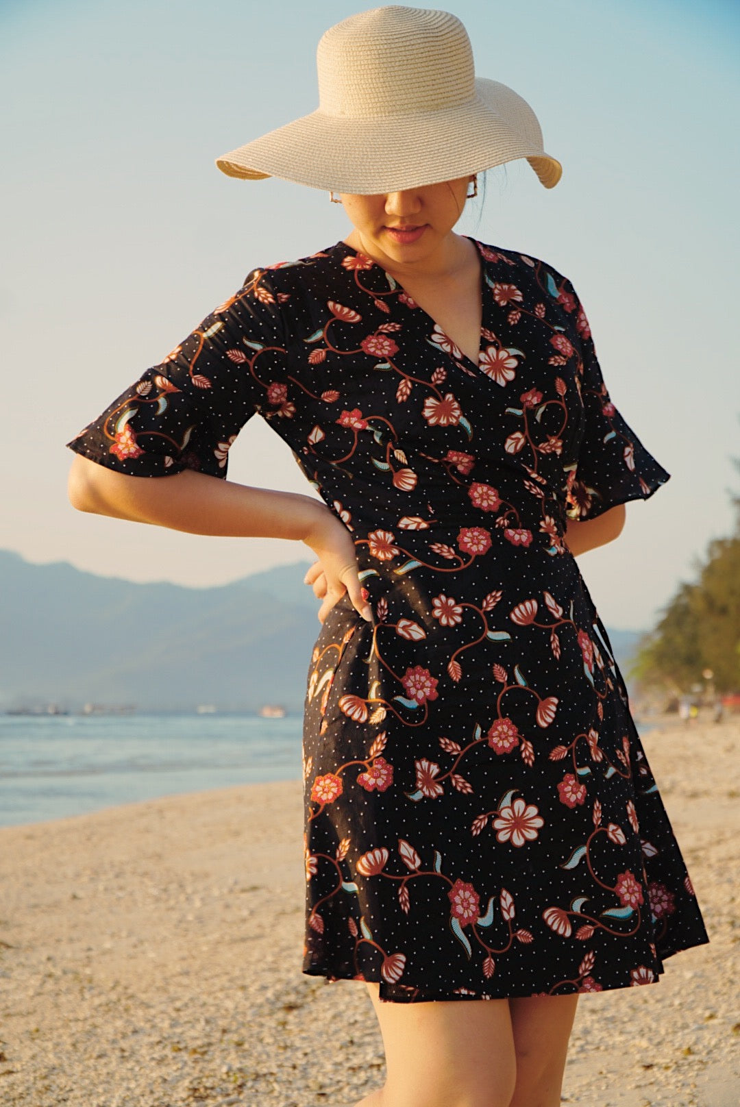 Magnolia Batik Wrap Dress in Black Floral