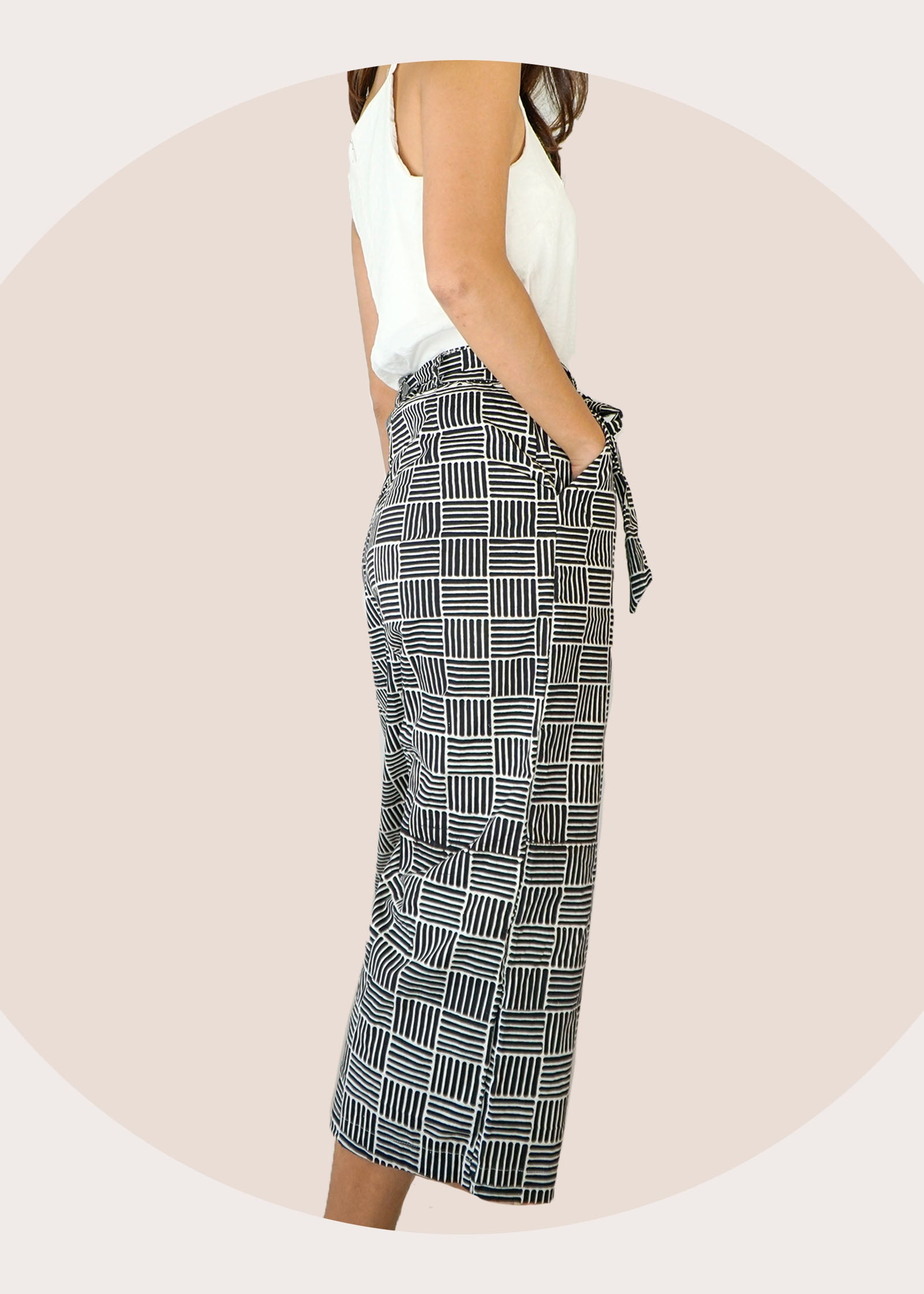 Imara Flare Pants in Black Grid
