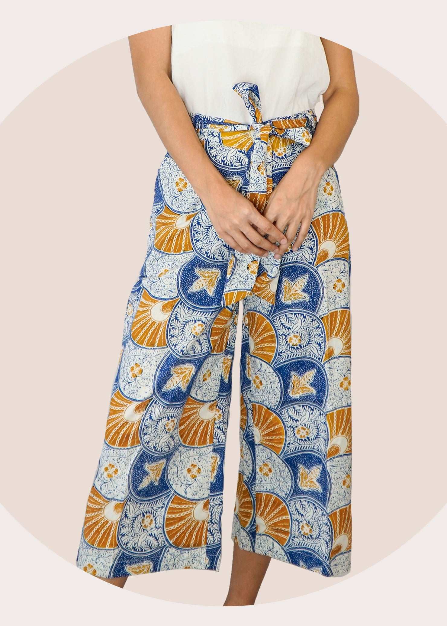 Imara Flare Pants in Mustard Blue