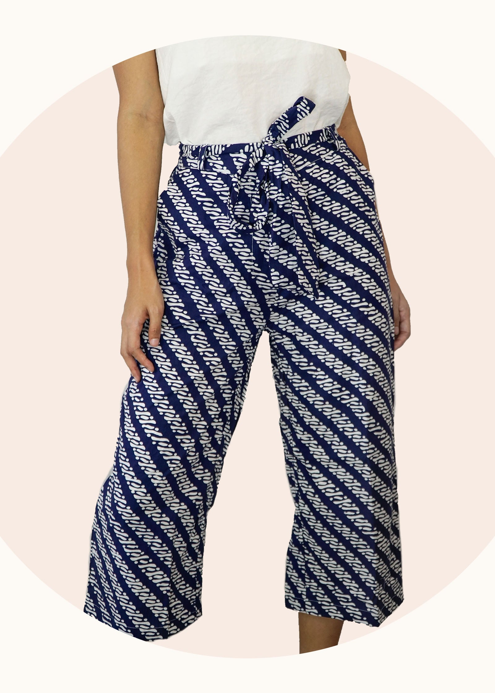 Imara Flare Pants in Navy Parang