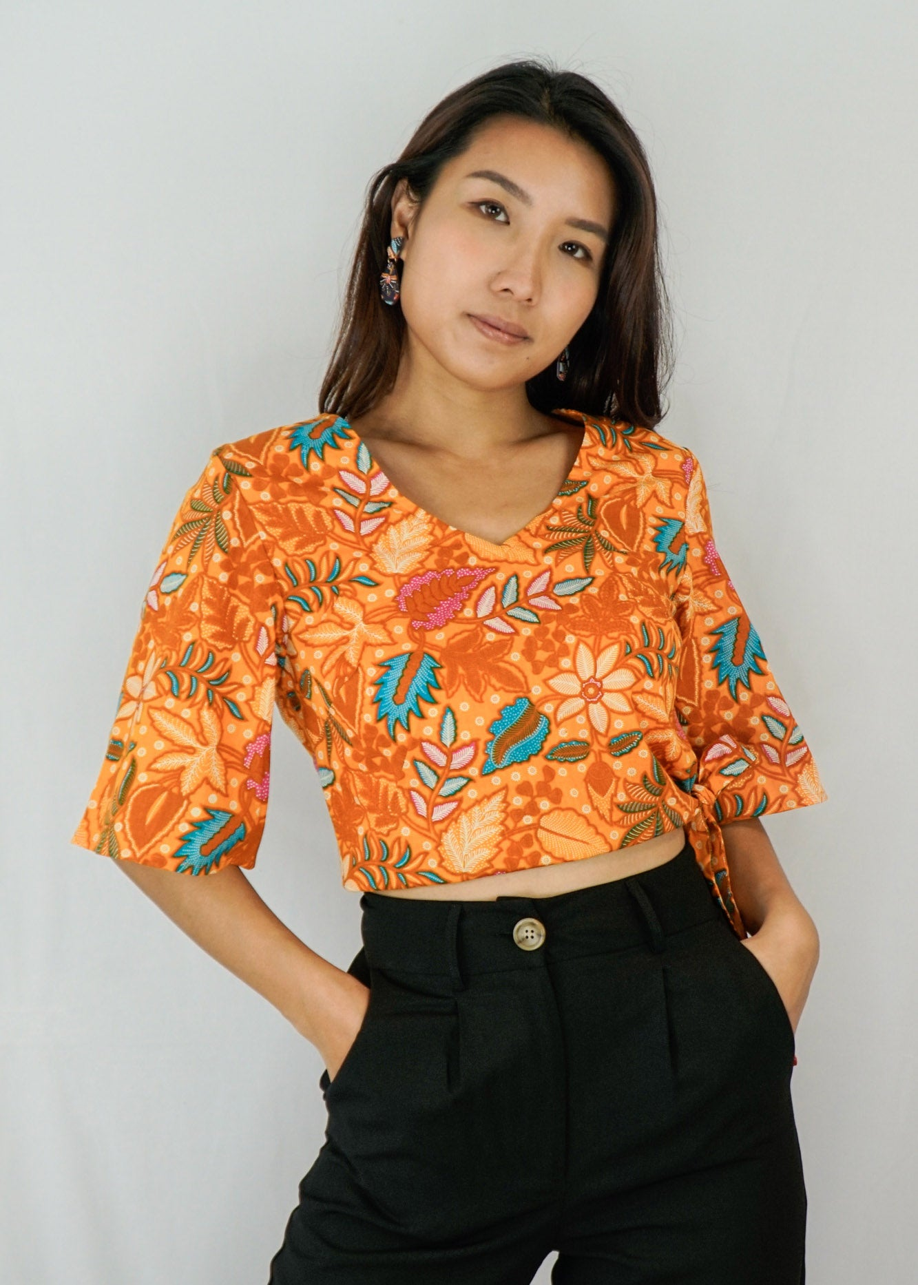 Tracy Flare Sleeves Top in Ferny Fantasy