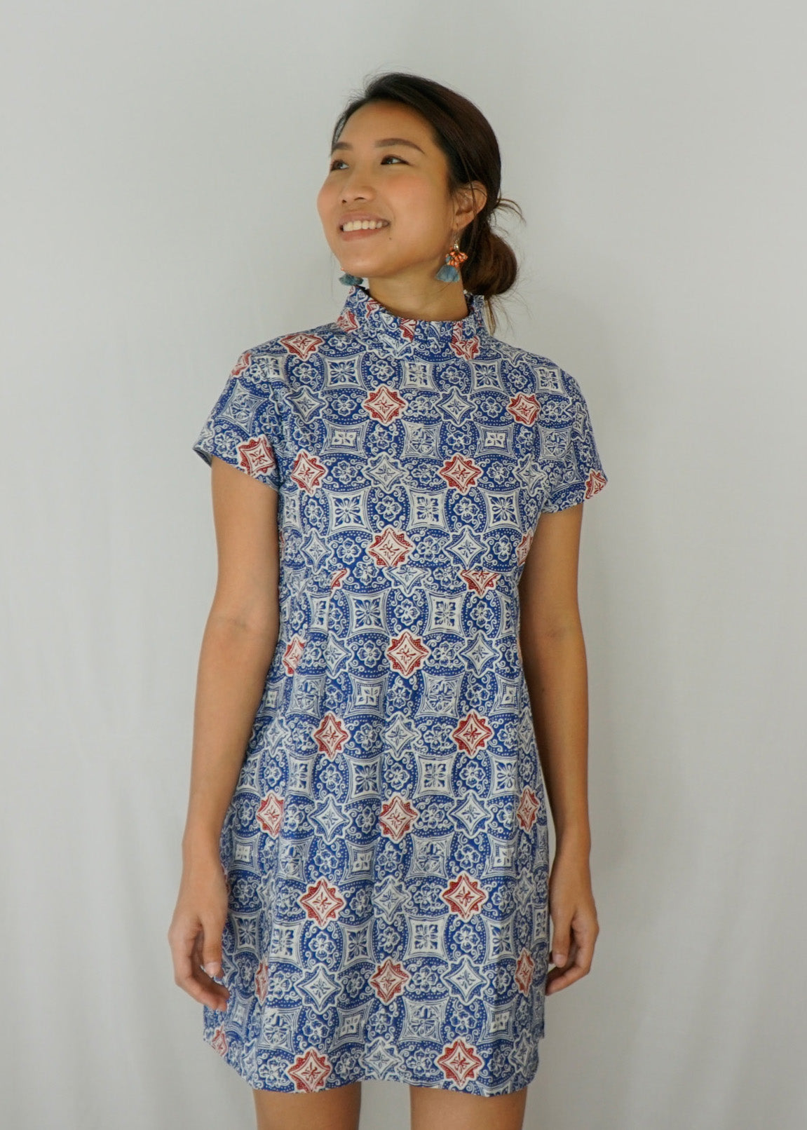 Lily Pleated Collar Mini Dress in Blue Porcelain