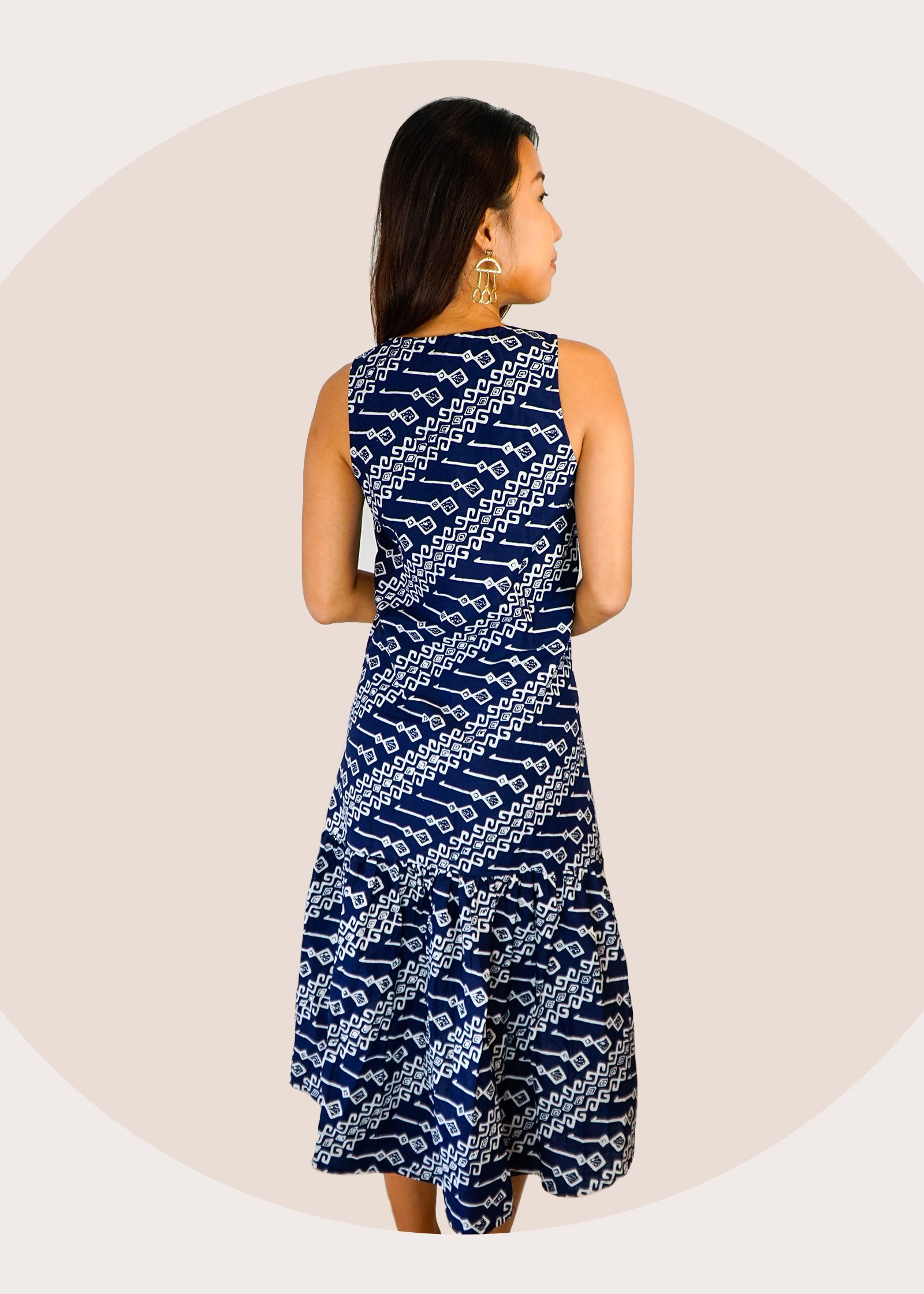 Cindy Ruffle Batik Dress in Navy