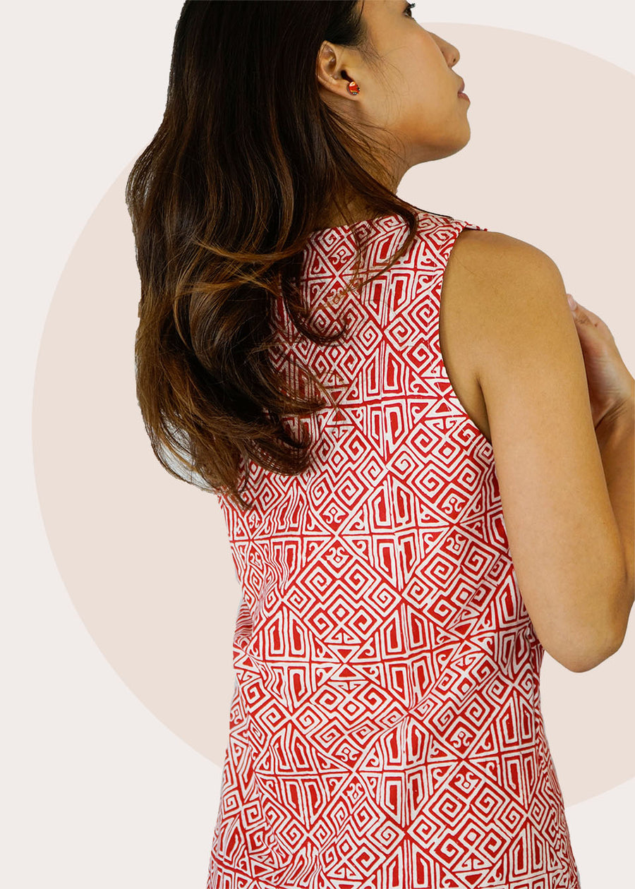 Cindy Ruffle Batik Dress in Red