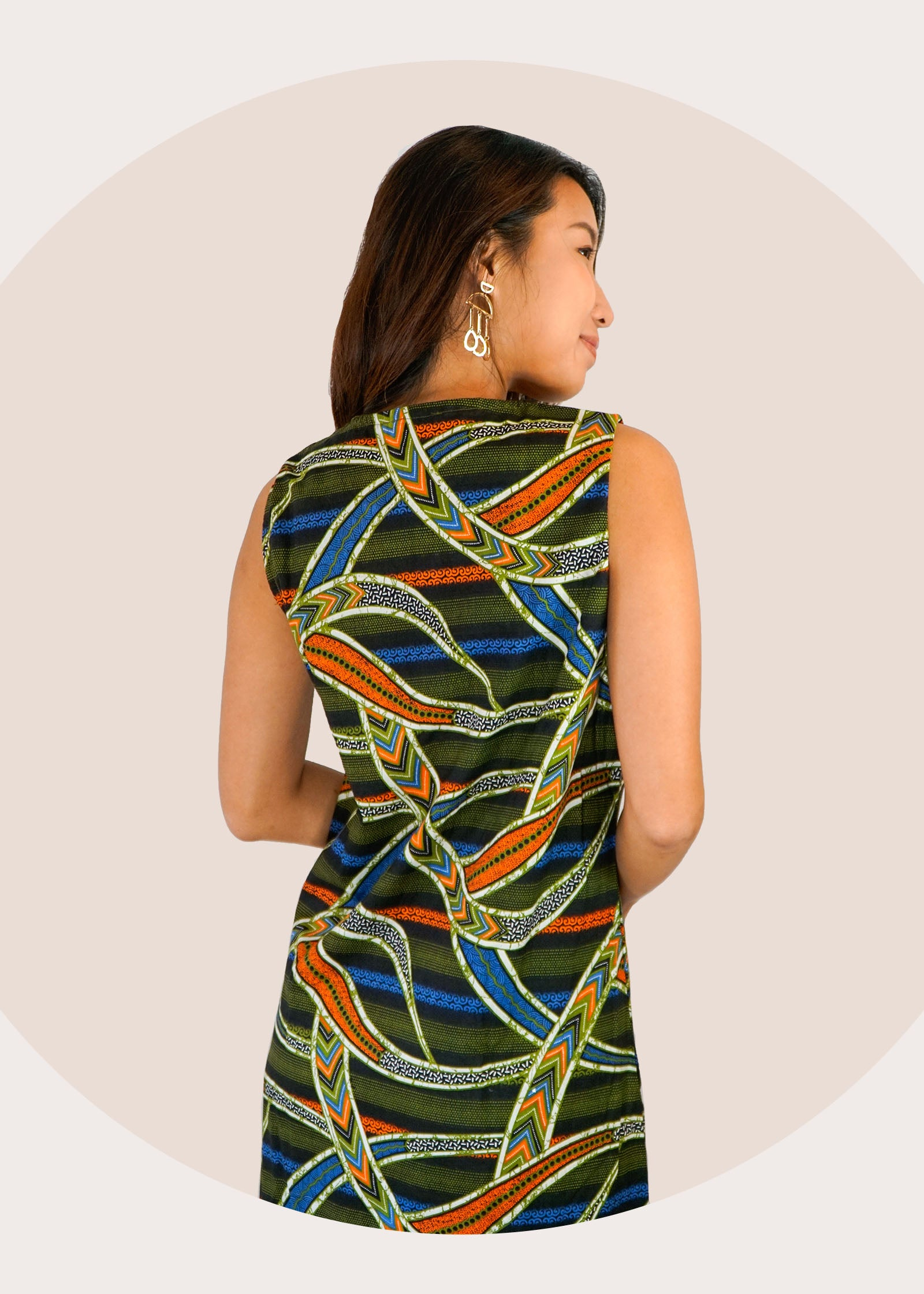 Cindy Ruffle Batik Dress in Slices