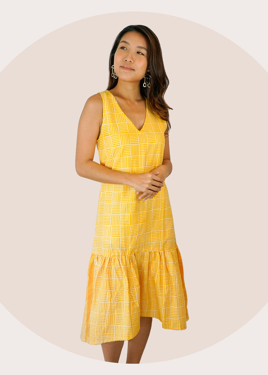 Cindy Ruffle Batik Dress in Yellow